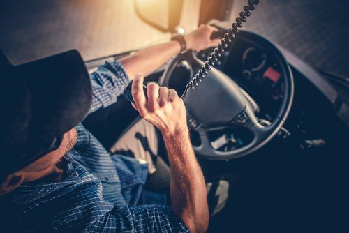 truck driver speaking on cb radio