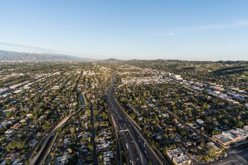 overhead view of Van Nuys and the 101