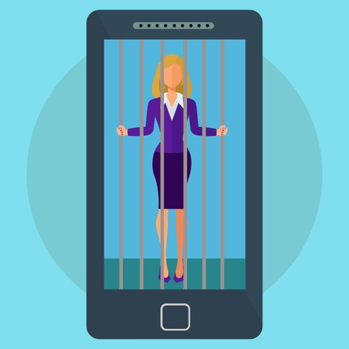 smartphone with a picture of a woman behind bars in jail