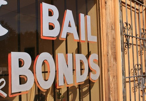 bail bonds sign on a shop window