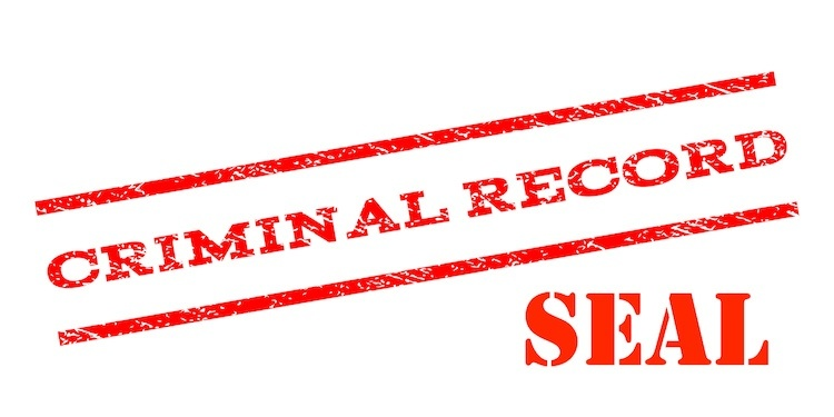 "Red lettering spelling out ""criminal record seal"" in all caps."
