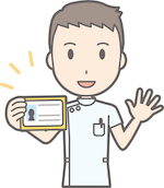 cartoon rendering of doctor with license