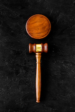 gavel against dark background
