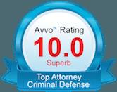 AVVO 10.0 superb lawyer badge