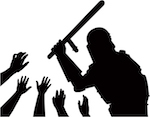 silhouette of police wielding a baton and helpless hands underneath