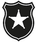 black badge with white star