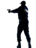 law enforcement officer aiming gun