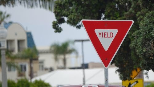 yield sign on the street