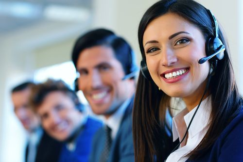 Group of law firm receptionists with headsets