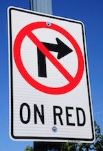 """no right on red"" sign"