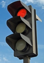 red light on traffic lantern
