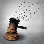 surreal rendering of gavel with top of gavel turning into birds flying away in a show of freedom