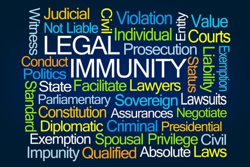 Sign that lists different types of legal immunities