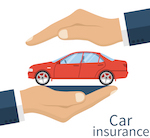 "cartoon of hands holding a car with the lettering ""car insurance"" in the bottom right corner"