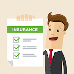 cartoon of man holding up insurance document