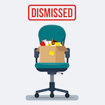 """swivel chair with box on it with """"dismissed"""" sign"""