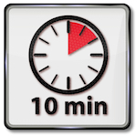 Clock that shows a ten-minute time span