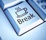 "computer key that says ""break"" with coffee graphic"