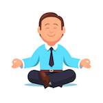 cartoon of man in business suit meditating