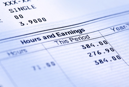 Accounting document that shows wages and hours
