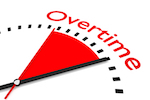 """clock that says """"overtime"""""""
