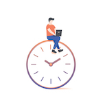 cartoon of man sitting on clock