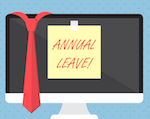 """computer monitor with post-it that says """"annual leave"""""""