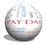 "sphere that says ""pay day"""