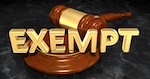 """gavel with letters that say """"exempt"""""""