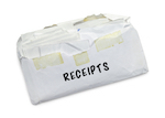 "envelope that says ""receipts"""