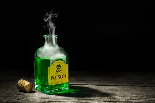 Bottle of green poison as an example of what could lead to a Penal Code 347 PC charge
