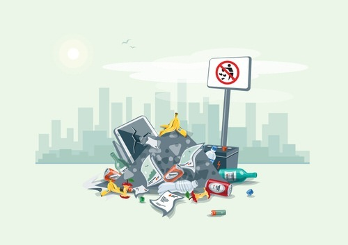 accumulated garbage as an example of illegal dumping