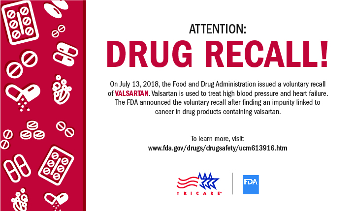 FDA drug recall notice for Valsartan