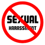sexual harassment sign with a no symbol