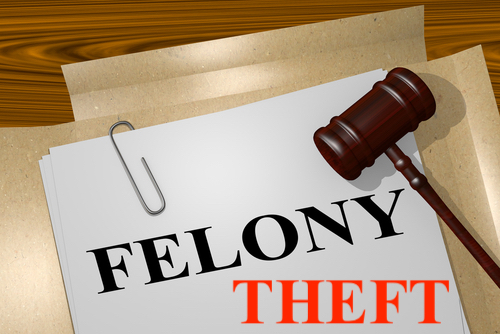 gavel over file that reads Felony Theft