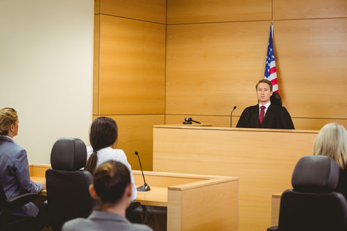 judge presiding over a courtroom