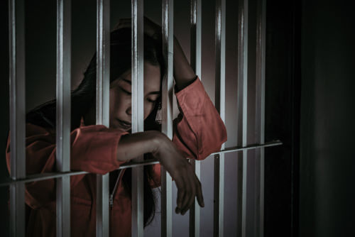 Women behind bars following a category D felony conviction in Nevada.