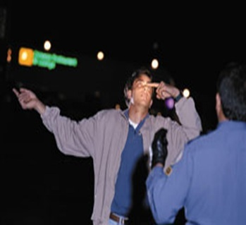 DUI suspect performing hand to nose field sobriety test for a police officer