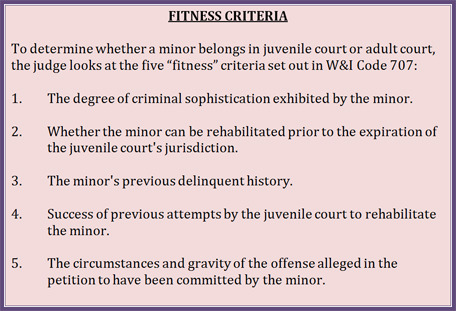 a listing of the 5 criteria a court considers in a fitness hearing