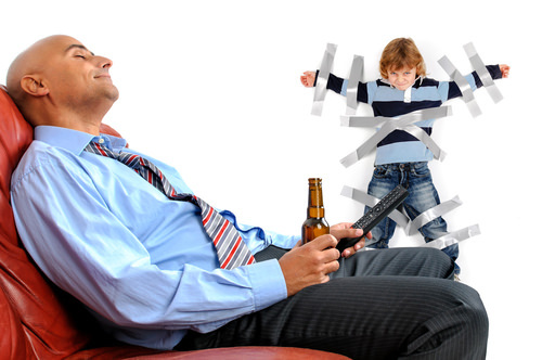 child duct taped to wall while parent drinks beer