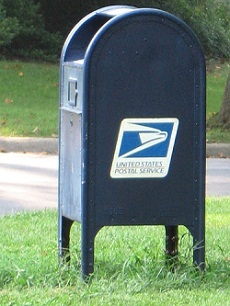 Mailbox for USPS, which delivers mail to inmates.