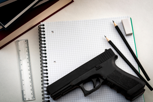 notebook and gun