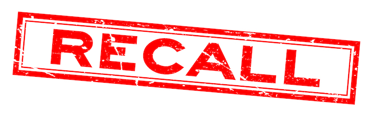 """A """"recall"""" sign. Various models of surgical staples and staplers have been recalled due to defects."""