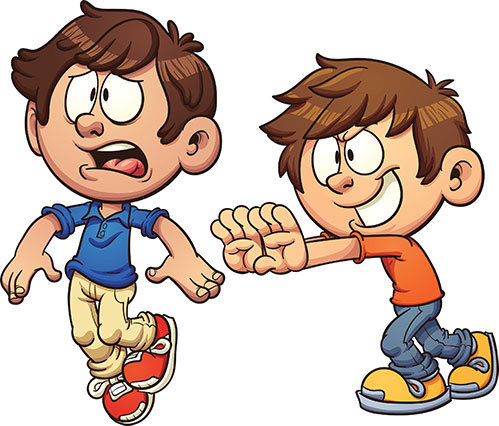 cartoon of a boy pushing another boy