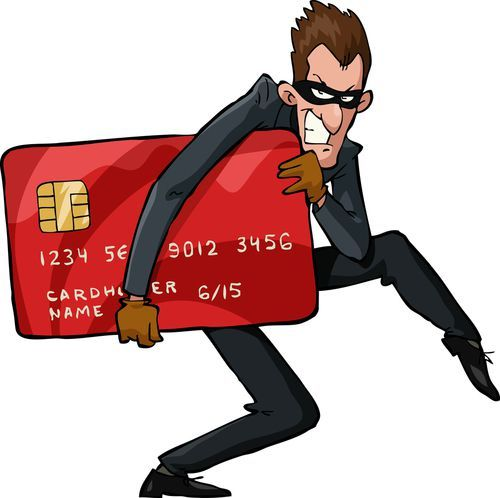 cartoon of a man stealing a credit card
