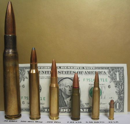 50 bmg ammunition next to much smaller ammo