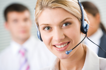 Receptionist with headset on.