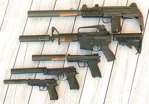 guns with silencers attached