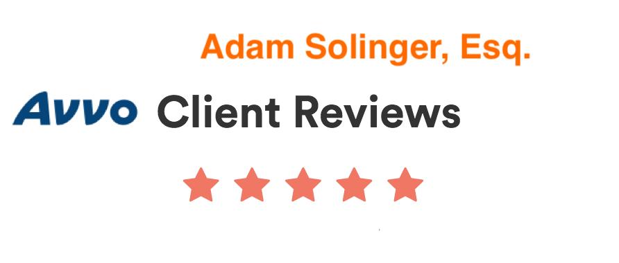 Avvo client reviews for Adam Solinger