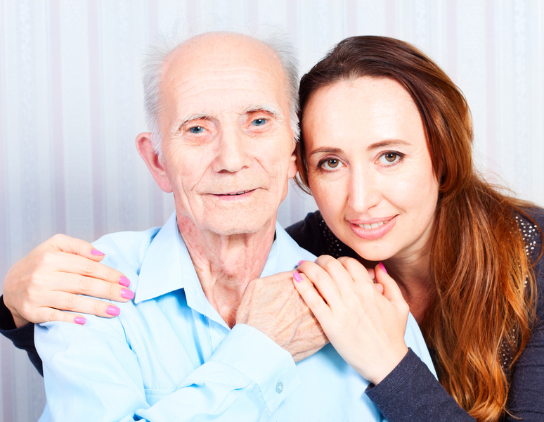 woman with grandfather (FMLA)